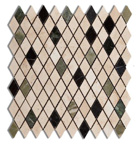 Travertine Marble Bathroom (Multi-color Marble & Travertine Prato Harlequin (Diamond / Rhomboid) Polished Mosaic Tile - 6