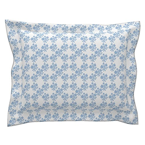 Roostery Blue Euro Flanged Pillow Sham Swedish Rose Trellis in Blueberry Blue by Lilyoake Natural Cotton Sateen Made
