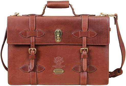 Col. Littleton Full-Grain Leather Navigator Briefcase Made in USA Brown
