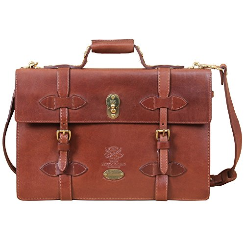 Leather Navigator Briefcase Laptop Expandable Bag Brown Messenger USA No. 1943 (Littleton Leather)