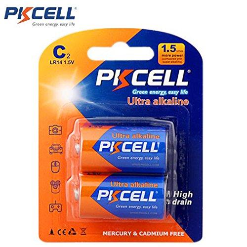 PKCELL 2 Pack C LR14 1.5V Cell Alkaline Battery for Electronic Toys