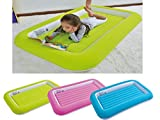Kid's Children's Inflatable Safety Flocked Kiddy Airbed Toddlers Camping Air Beds Soft Comfortable Fun Colourful Guest Sleepover (Blue)
