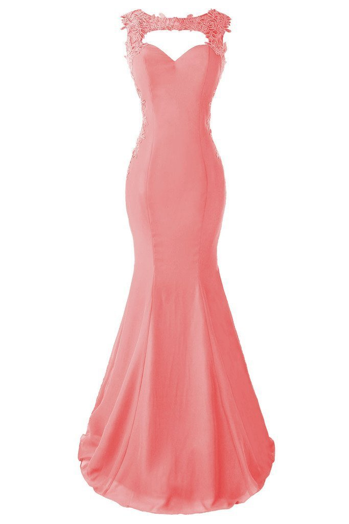 Topdress Women's Mermaid Prom Dress Lace Appliques Sheer Back Evening Gowns Coral US 24Plus