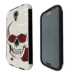 572 - Funky Sugar Skull vintage News paper flower Rose eyes Design Samsung Galaxy S4 i9500 Full Body CASE With Build in Screen Protector Rubber Defender Shockproof Heavy Duty Builders Protective Cover