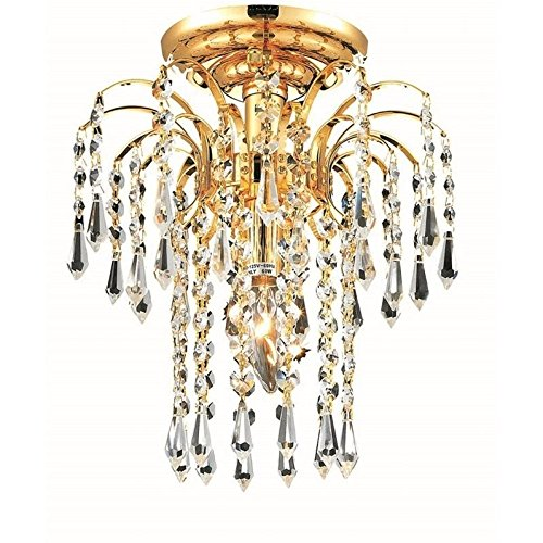 Elegant Lighting 6801F9G/RC Royal Cut Clear Crystal Falls 1-Light, Single-Tier Flush Mount Crystal Chandelier, Finished In Gold with Clear ()