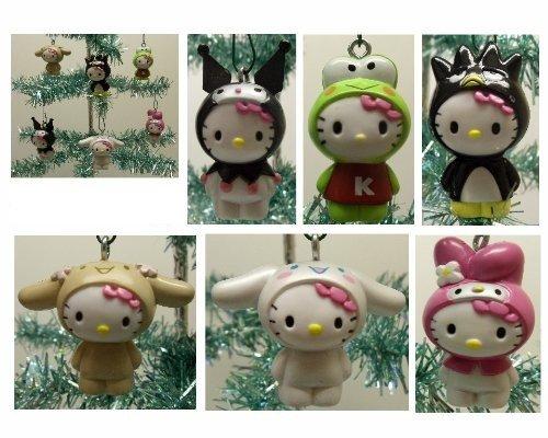 Hello Kitty Set of 6 Holiday Christmas Tree Ornaments Featuring Hello Kitty Dressed as My Melody, Keroppi, Kuromi, Bradte-Maru, Cinnamaroll, and (Hello Kitty Ornaments)