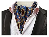 Elfeves Men's Blue Orange Yellow Floral Silk Cravat Ties Jacquard Woven Ascot