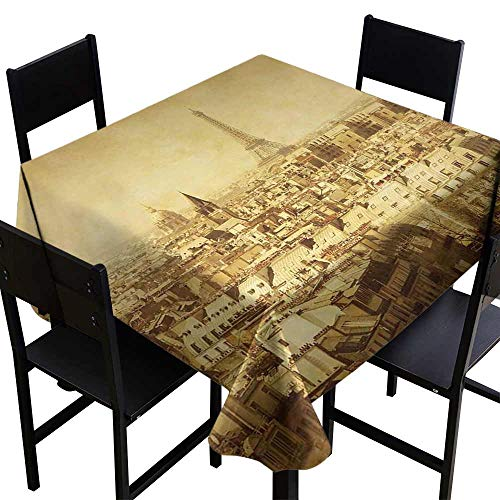 (StarsART Round Tablecloth Cotton Eiffel Tower,Classic Photo of Eiffel Tower Paris National Landmark Old Album Memories Vintage,Brown D65,Round Tablecloth )
