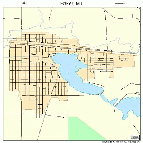 Amazon Com Large Street Road Map Of Baker Montana Mt Printed
