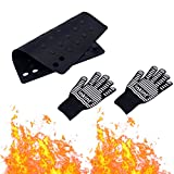 inkint Hair Beauty Heat Insulation Cotton Gloves and Mat (Non-slip & Foldable)Set Scald Proof Gloves Heat Resistant Pad Hair Styling Tool for Salon and Home Use (Black)