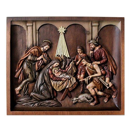 NOVICA 229853 Nativity with Shepherds' Cedar Relief Panel