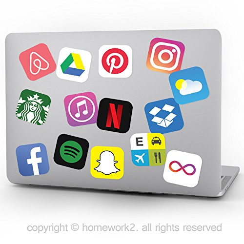 24 App Stickers, Social Media Stickers for Laptop and Anywhere, Vinyl Decals, UV Protected & Waterproof
