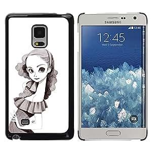 """For Samsung Galaxy Mega 5.8 Case , Retrato de la niña del dibujo de lápiz de Big Eyes Flaco"""" - Diseño Patrón Teléfono Caso Cubierta Case Bumper Duro Protección Case Cover Funda"""