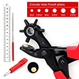 Belt Hole Puncher, EONLION Leather Hole Punch Plier Kit, Heavy Duty revolving Puncher, Multi Hole Sizes Maker Tool for Belts, Watch Bands, Straps, Dog Collars, Shoes, Fabric, Paper, DIY Home or Craft