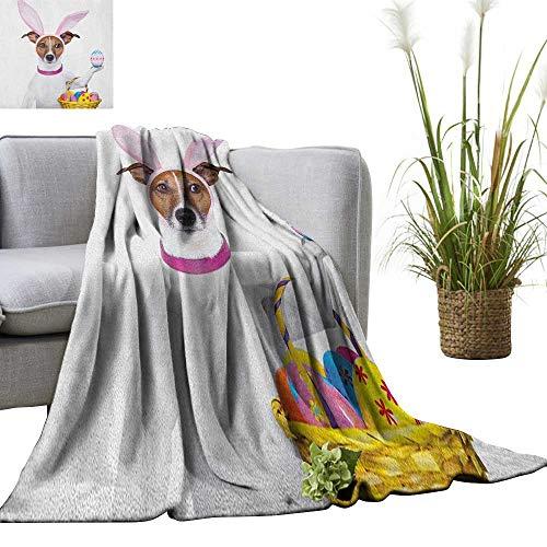 Easter Weave Pattern Extra Long Blanket Dog Dressed up as Easter Bunny Holding a Basket of Eggs Funny Animal Illustration 50