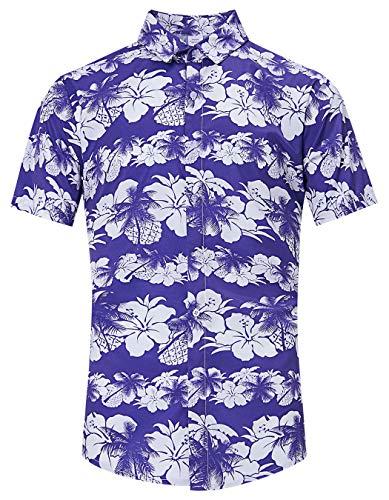 TUONROAD Tropical Beach Theme Authentic Hawaiian Island Shirt White Purple Navy Hibiscus Pineapple Palm Shadow All Over Floral Print Original Short Sleeve Shirt Birthday Button Down Shirt for Men