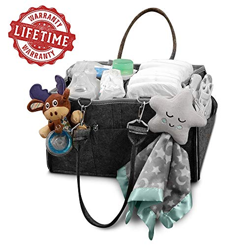 Caddie Valuables - Baby Diaper Carry All for Girls and Boys - Baby Shower Gift - Portable Nursery Storage Basket - Car and Travel Essential Accessories Carrier - Stylish and Modern Newborn Shower Gift Holder