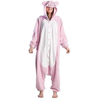 Rnmomo Unisex-adult Kigurumi Onesie Peppa Pig Pajamas (S: 155 - 162cm (