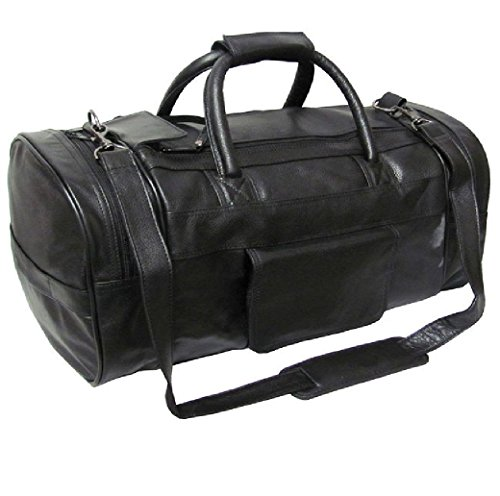 amerileather-black-leather-20-inch-carry-on-dual-zippered-travel-duffel-bag