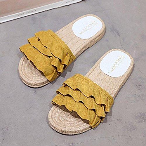 con talón mujer para punta Fashion Zapatillas liso Opcbreath bajo y pimienta de color amarillo de qw70WxA