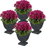 Sunnydaze Darcy Flower Pot Planter, Outdoor/Indoor Heavy-Duty Double-Walled Polyresin with Fade-Resistant Slate Finish, Set of 4, 16-Inch Diameter