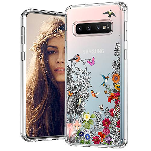 (MOSNOVO Galaxy S10 Case,Floral Humming Bird Flower Pattern Clear Design Transparent Plastic Back Case with Shockproof TPU Bumper Protective Case Cover for Samsung Galaxy S10)