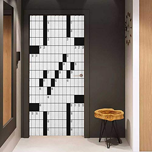 Onefzc Pantry Sticker for Door Word Search Puzzle Blank Newspaper Style Crossword Puzzle with Numbers in Word Grid Sticker Removable Door Decal W32 x H80 Black and ()