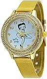 Betty Boop #BB-W069 Women's Blowing Dress Gold Tone Mesh Band Analog Watch