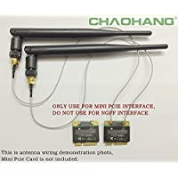 CHAOHANG New 2 x 6dBi RP-SMA Dual Band 2.4GHz 5GHz + 2 x 35cm U.fl / IPEX Cable Antenna Mod Kit No Soldering for Wireless Routers Mini PCIe Cards Network Extension Bulkhead Pigtail PCI WiFi WAN Repeater