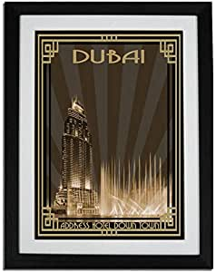 Address Hotel Down Town- Sepia With Gold Border F01-nm (a3) - Framed