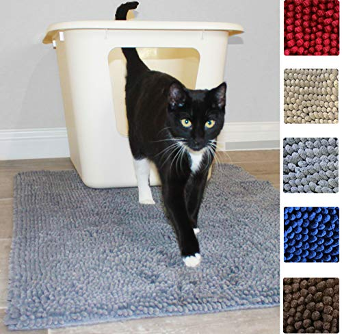 Enthusiast Gear Cat Litter Box Mat for Kitty | Washable Easy Clean Rug with Scatter Control - Traps Litter - Soft on Paws - Special Introductory Price! - Red