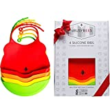 BABY SILICONE BIBS - RAINBOW Collection! PACK OF 4 Baby Bibs! BEST Baby Shower Gifts, Bibs for Girls and Bibs for Boys, Newborns Gifts - 100% Food Grade Silicone, Tested, Waterproof, Dishwasher Safe