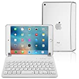 iPad Mini 3/2/1 Keyboard, Raydem Ultra-Thin iPad Mini Wireless Bluetooth Keyboard Folio Cover 130 Degree Multi-Angle Swivel Rotating with Auto Wake/Sleep for Apple iPad Mini 1/2/3