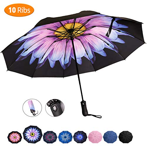Viefin Reverse Folding Compact Travel Umbrellas for Women, Inverted Inside Out Sun Rain Woman Umbrella, Automatic Open Close, 10 Ribs-Blue Flower (Flowers That Open And Close With The Sun)