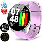 2019 Updated Version Smart Watch with Heart Rate & Blood Pressure Monitor, Fitness Tracker Watches with SpO2 and Sleep Tracker, IP67 Waterproof Activity Health Tracker Compatible for Women Men Kids