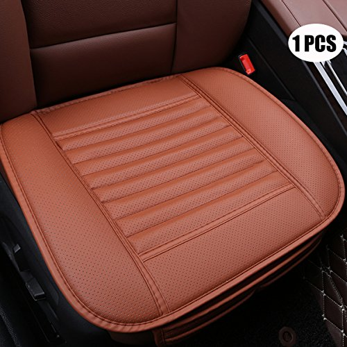 EDEALYN Four Seasons General Pu Leather Bamboo Charcoal Breathable Comfortable Car Interior Seat Cushion Cover Pad Mat for Office Chair Auto Car Supplies (Brown-red)