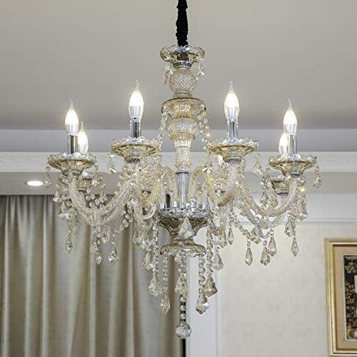 HOMWEERUN LED E12 LED 3 Brightness Cognac Colour Crystal Candle Chandelier Ceiling Lights Fixture Lamp Chandelier Pendant Lights Lighting with 8pcs 5W E12 LED Bulb