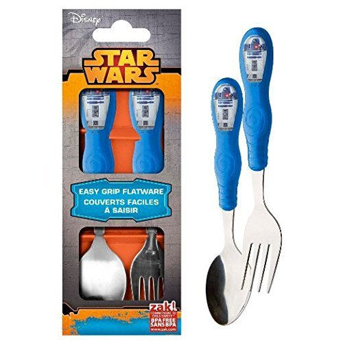 Zak Designs BPA-free Plastic and Stainless Steel Easy Grip Star Wars Flatware, Children's Spoon and Fork