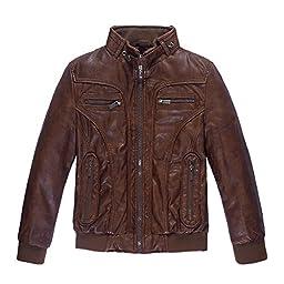 LJYH Big Boys Warm Jacket Children\'s Motorcycle leather PU Coat