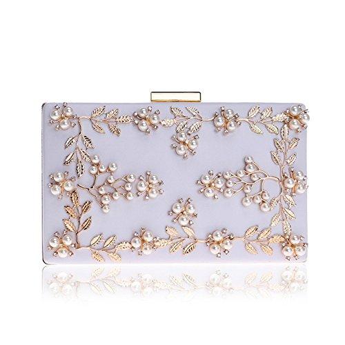 White Glitter Shoulder Party Bridal Handbag Prom Wedding Bag Diamante For Ladies Pearl Women Gift Evening Clutch Bag Envelope Purse Clubs 6HwqzX