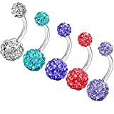 Nicever 14G 8mm Stainless Steel Belly Button Rings Piercing Navel Rings Rhinestone Crystal Body Jewelry