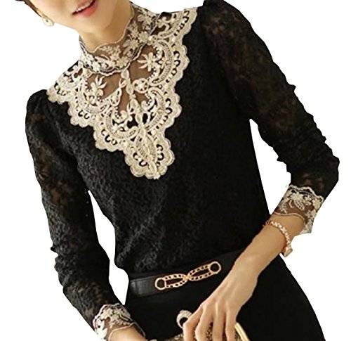 Lapiness Women's Floral Lace Blouse Overlay Turtleneck Sheer Long Sleeve Party Tops (Black, M)