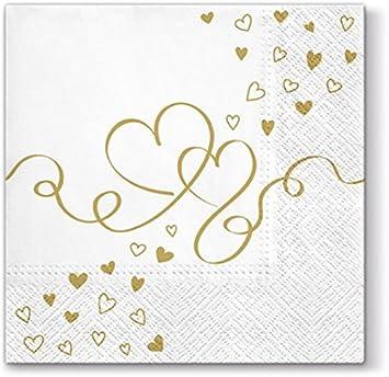 20 Servietten Goldene Herzen Hochzeit Liebe 33x33cm