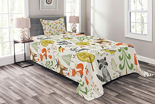 Lunarable Animals Bedspread Set Twin Size, Woodland Forest Animals Trees Birds Owls Fox Bunny Deer Raccoon Mushroom Print, Decorative Quilted 2 Piece Coverlet Set with Pillow Sham, Multicolor ()