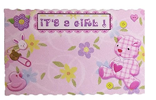 Boy/Girl Birth Announcement/Enclosure Note Cards - Pack of 10 (Pink - It's a Girl, 10 Pack)