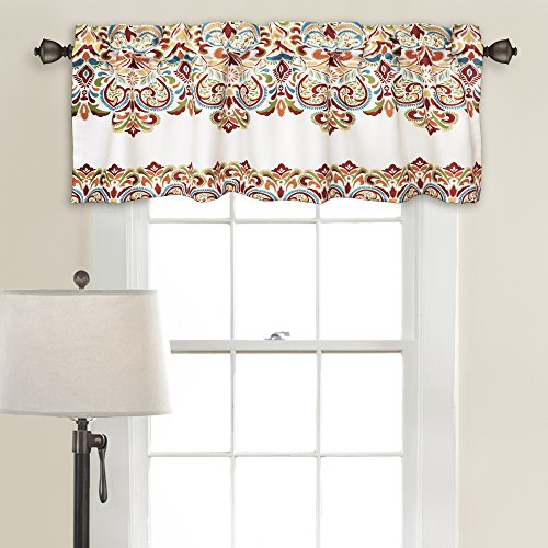 Lush Decor 16T000205 Clara Room Darkening Window Curtain Valance Set, 18 inch x 52 inch, Turquoise/Tangerine (Decor Home Fashions Lush Triangle)