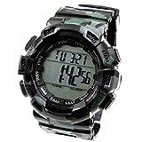 Black Watchcase Alarm BackLight Water Resist Men Camouflage Digital Watch