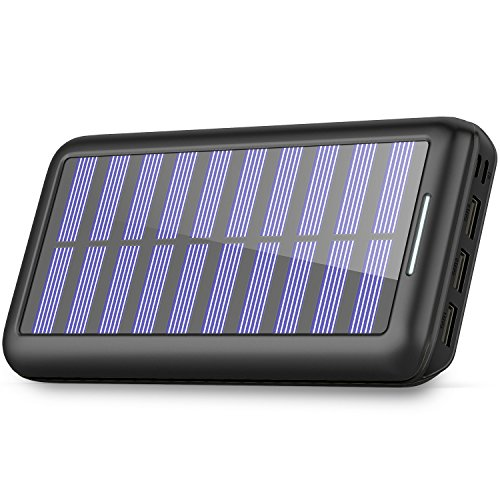 Solar Charger BERNET 24000mAh Ultra High Capacity Portable Solar Power Bank with USB Fan and 3 USB Ports External Battery Pack Phone Charger for iPhone iPad Samsung HTC Cellphones and More (Black)