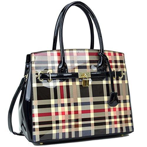 Dasein Women's Handbags Padlock Satchel Bags Top Handle Purses Shoulder Bags (3079 1pcs- Black without wallet) by Dasein