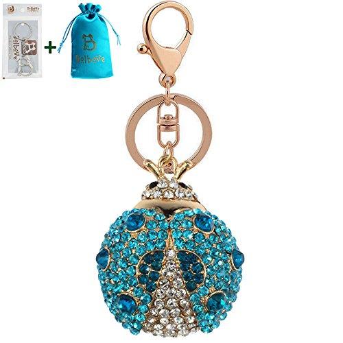 Bolbove Cute Big Ladybug Keychain Sparkling Keyring Rhinestones Purse Pendant Handbag Charm (Blue)